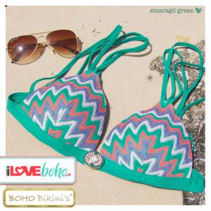BOHO bikini's tops outlet - iconic triangle aztec bikinitop top - smaragd green
