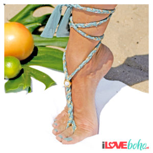 BOHO accessoires – braided ribbon – sage green