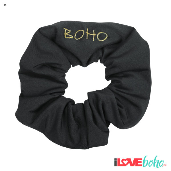 BOHO accessoires – scrunchy – charcoal grey