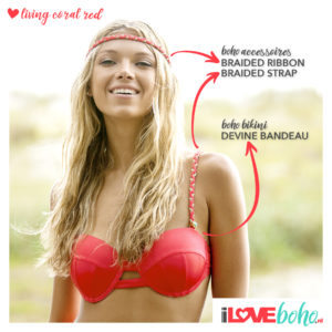 BOHO accessoires – braided ribbon – living coral red