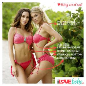 BOHO accessoires – braided bikini straps – coral red