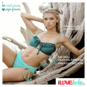 BOHO accessoires – braided bikini straps – mint green