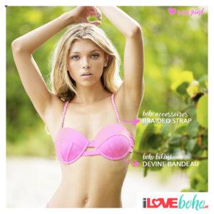 BOHO accessoires – braided bikini straps – rose pink