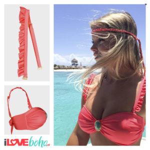 BOHO accessoires – ruffled bikini straps – coral red