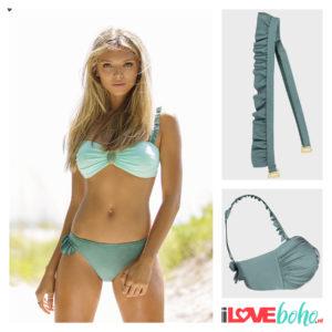 BOHO accessoires – ruffled bikini straps – sage green