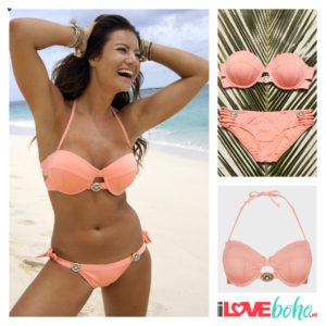 BOHO bikini top - devine - peach - S/M/L/XL