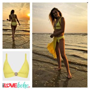 BOHO bikini top - cosmo triangle - yellow