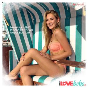BOHO bikini top – iconic bandeau – peach