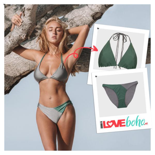 BOHO bikini's top – Triangel – army grey