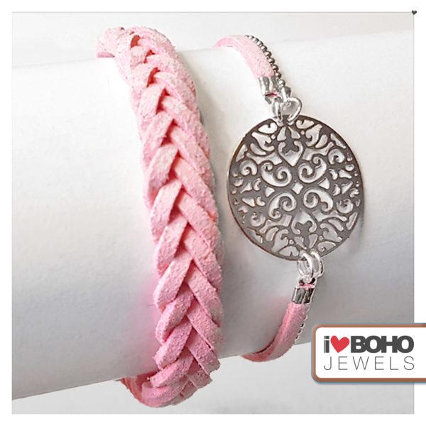 Armband - bohemian - peach suède - zilver