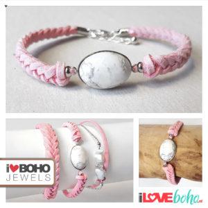 Armband - howliet - peach suède - zilver