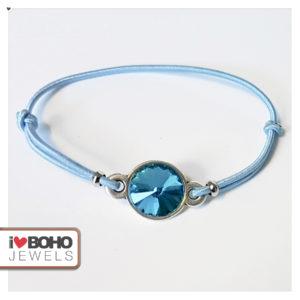 Armband - blauwe rivoli puntsteen