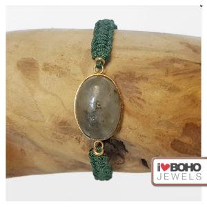 Macramé armband – Labradoriet - goud