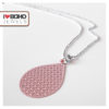 Bolletjesketting - peach bohemian druppel - zilver