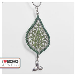Dubbele bolletjesketting - groene bohemian druppel - zilver