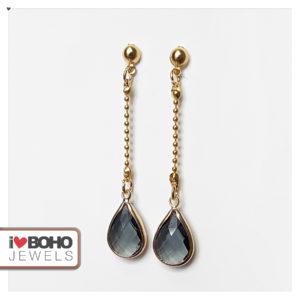 Oorbellen - zwart facetglas druppels - goud