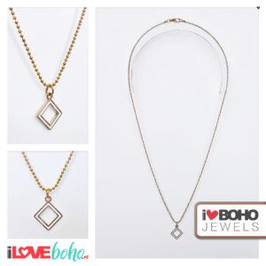 Bolletjesketting - witte ruit - goud