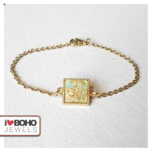 Armband - vierkant globe - mintgroen en goud