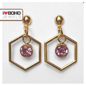 Oorbellen - zeshoek - roze strass - goud