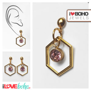 I♥BOHO JEWELS oorbellen - Oorbellen - zeshoek - roze strass - goud