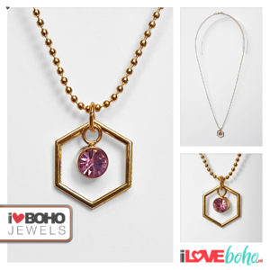 Bolletjesketting - zeshoek - roze strass - goud