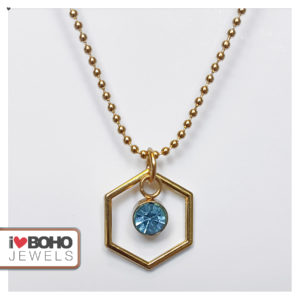 I♥BOHO JEWELS kettingen - Bolletjesketting - zeshoek - blauwe strass - goud