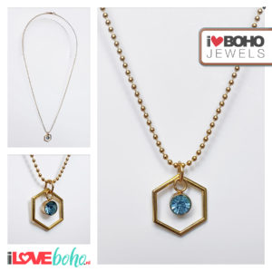 Bolletjesketting - zeshoek - blauwe strass - goud