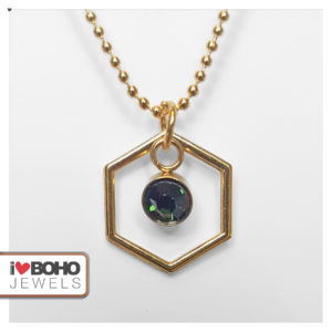 Bolletjesketting - zeshoek - groene strass - goud