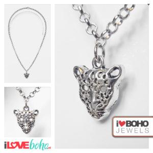 Ketting - zilveren luipaard hanger