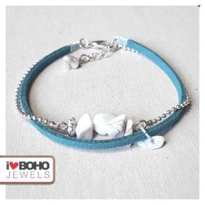 Armband - howliet steentjes - suède - petrol en zilver