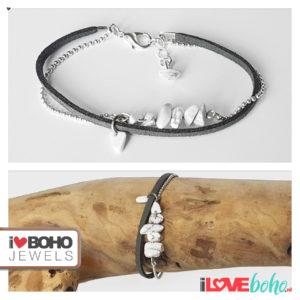 Armband - howliet steentjes - suède - donkergrijs en zilver