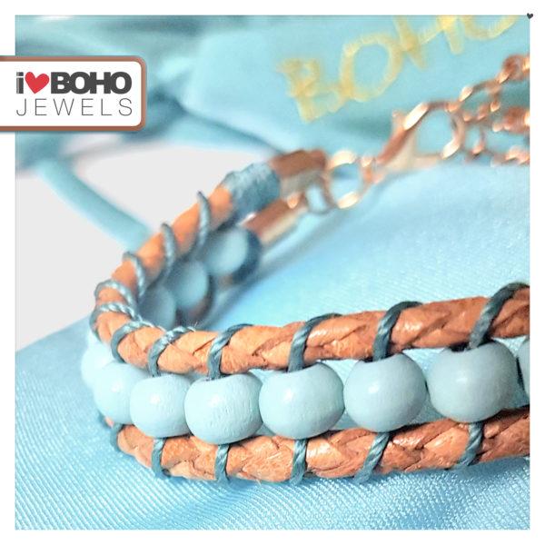 I♥BOHO JEWELS Armband - gewoven houtkralen - leer - blauw, petrol, bruin en rose goud