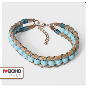 I♥BOHO JEWELS armbanden - Armband - gewoven houtkralen - leer - blauw, petrol, bruin en rose goud
