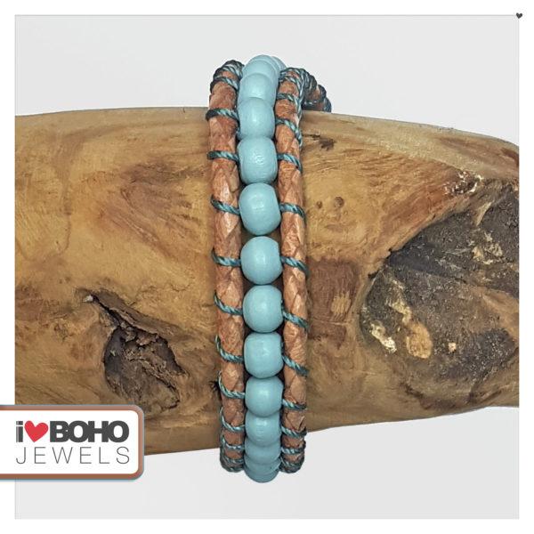 Armband - gewoven houtkralen - leer - blauw, petrol, bruin en rose goud