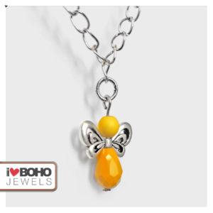 Ketting - engeltje - geel en zilver