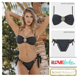 BOHO bikini's tops 2020 – iconic bandeau top – onyx zwart
