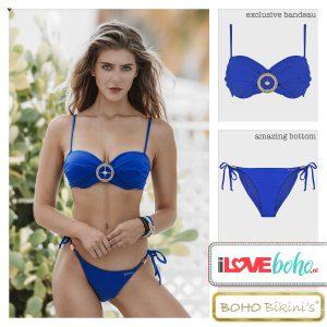 BOHO bikini's top – exclusive bandeau – lapiz blauw