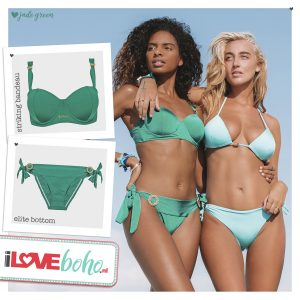 BOHO bikini's top – striking bandeau – jade groen