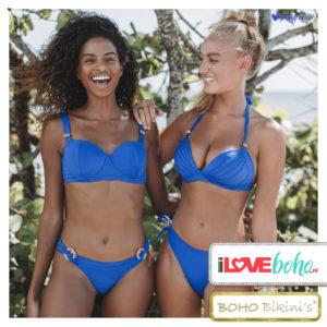 BOHO bikini's top – striking bandeau – lapiz blauw