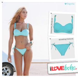 BOHO bikini's top – striking bandeau – turquoise