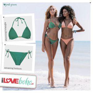 BOHO bikini's top – stunning triangle – jade groen