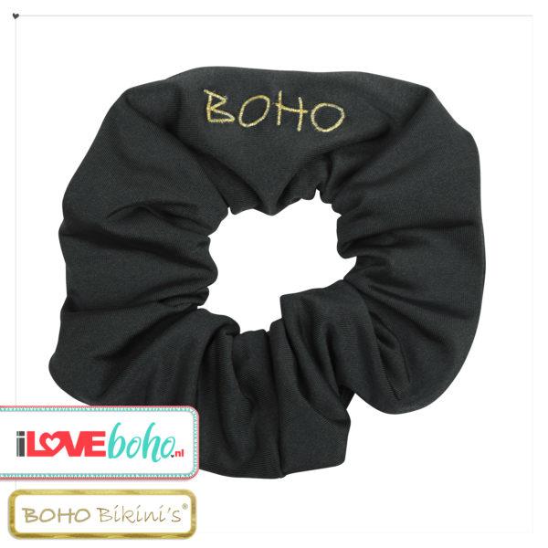 BOHO accessoires - scrunchy - onyx zwart