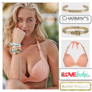 BOHO bikini's top – lustrous halter – licht coral