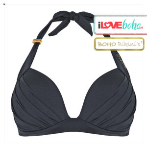 BOHO bikini's top – lustrous halter – onyx zwart