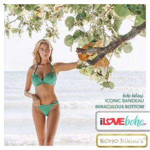BOHO bikini's top – lustrous halter – jade groen