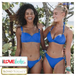 BOHO bikini's top – lustrous halter – lapiz blauw