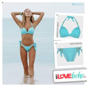 BOHO bikini's top – lustrous halter – turquoise