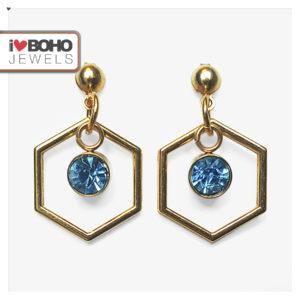 Oorbellen - zeshoek - blauwe strass - goud