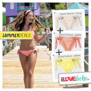 SUMMERDEAL - Bikini Bottoms XS - Iconic - Ivory, Peach & Yellow