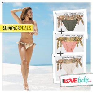 SUMMERDEAL - Bikini Bottoms XS - Elite - Ivory, Olive & Peach